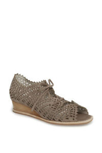 New Jeffrey Campbell Espejo Wedge Tie Taupe suede Sandal Size 6.5 Perforated