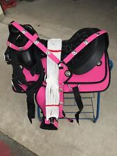 "15"" NEW PINK WESTERN CODURA PLEASURE TRAIL SADDLE PACKAGE with CONCHO"