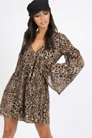 Womens Animal Leopard Print Double Layer Flute Sleeve Mini Smock Dress
