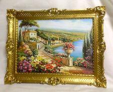 Gemälde Antik Haus am See Blume Bild mit Rahmen 90X70 BILDERRAHMEN GOLD L5