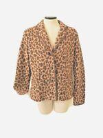 Talbots Women's Size M 100% Merino Wool Leopard Animal Print Blazer Jacket (B)
