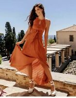 *** H&M CONSCIOUS LYOCELL BLEND RUST DRESS BLOGGERS HOLIDAYS UK 14 EUR 42
