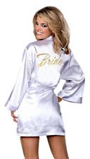 "SHORT WHITE SATIN ROBE W/ GOLD ""BRIDE"" FREE GIFT W/ PURCHASE-  C-VIDEO"