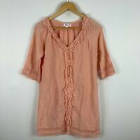 Humidity Womens Dress XS Extra Small Peach Pink Short Sleeve V-Neck