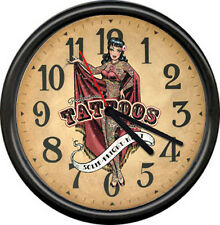 Retro Vintage Tattoo Parlor Sailor Jerry Nautical Art Pinup Girl Sign Wall Clock
