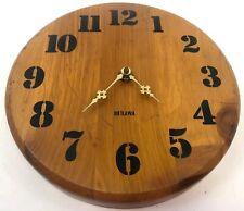 "Vintage 12"" Bulova Hardwood Slab Battery Operated Quartz Movement Wall Clock"