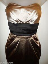 bebe XS Tube Dress Corset Black Nude Brown Color Block Sweetheart Club Cocktail
