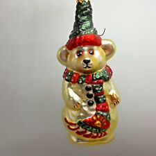 Boyds Bear Snowman Blown Glass Christmas Tree Ornament 1997 1998 GlassSmith