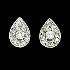 Vintage 14k White Gold 0.51ctw Round Diamond Pear Shaped Cluster Stud Earrings