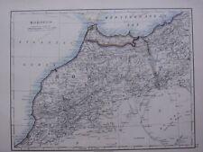 1918 MAP MOROCCO STRAIT OF GIBRALTAR FEZ MARAKESH