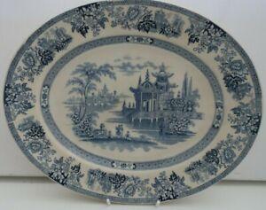 antique 1890s DOULTON BURSLEM ceramic SERVING PLATTER blue & white MADRAS