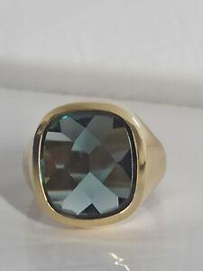 Herren Ring, Gold 585 mit Stein Turmalin oder Rauchtopas
