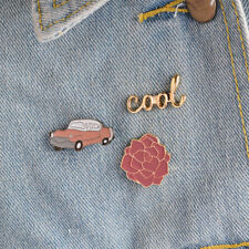 Enamel Brooches Pin Collar Badges Jewelry� 3 Pcs/Set Cartoon Car Cool Red Flower
