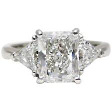 2.80 Carat Platinum 3 Stone Cushion and Trillion Cut Diamond Engagement Ring ...