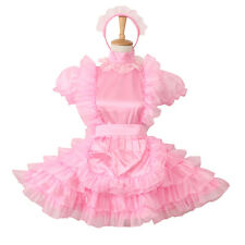Lockable Sissy Maid Pink Satin Organza Dress Uniform Cosplay Costume For Male