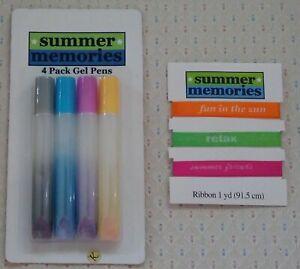 Summer Memories 4 Pack Gel Pens & '1 Yard of Fun in the Sun' Ribbon ***NEW***.