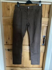 NEXT - Men's Brown Stretch Chino Slim Trousers - 32R