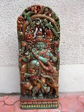 Hindu God Krishna Wooden Statue Temple Figurine HandCarved painted sculpture Art