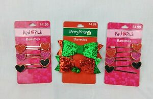 Barrettes & Bows Girls Hair Accessories Red & Pink Hearts and Merry Brite Bows