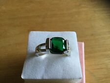 Green Chrome Diopside White Gold Filled Ring Size 8