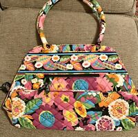 Vera Bradley Retired Rare Bowler Va Va Bloom Colorful Flowers Purse Hand Bag