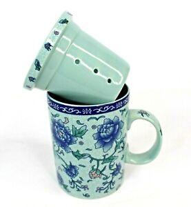 Tea Infuser Mug Blue Floral Porcelain 2 Piece Set