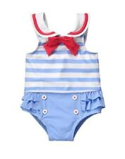 Gymboree Light Blue One-Piece Sailor Swimsuit Infant Baby Girl 6-12 Months New