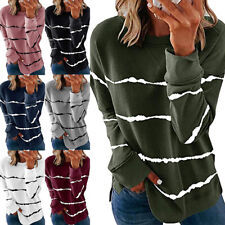 Womens Striped Kintted Sweater Ladies Casual Long Sleeve Pullover Sweatshirt