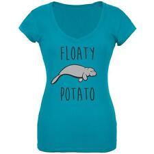 Floaty Potato Manatee Juniors V-Neck T Shirt