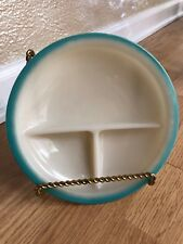 """Vintage FIRE KING Child's Divided Plate Dish Ivory w/ Turquoise Edging 7 1/2"""""""