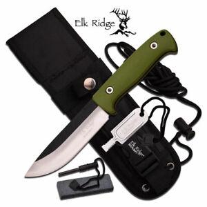 "Elk Ridge Bushcraft 10.5"" Fixed Blade Knife +Fire Rod +Sharpener+Sheath ER-555GN"