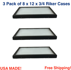 3 Pack of 8 x 12 x 3/4 Riker Display Cases Boxes for Collectibles Jewelry & More