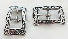 Jeremiah Watt Square Buckles Center Bar Horse Tack Stainless Steel Black Pair