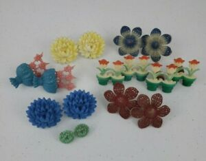 VTG 16 Curtain Tie Backs Holders Push Pins Plastic Mum Tulip Bouquet Flowers Lot