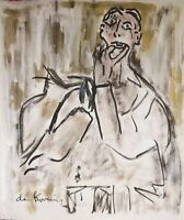 ORIGINAL WILLEM DE KOONING HAND DRAWN & SIGNED * ABSTRACT * WATERCOLOR ON PAPER
