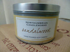 Northumbrian Sandlewood Scented Candle in a Tin 30 Hours Burning Time Soy Wax