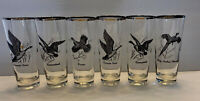 6 Vintage Game Bird Embossed Glasses Canada Goose, Pheasant, Grouse & Canvasback