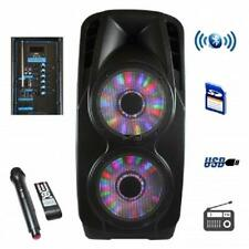 """beFree Sound 2x12""""Portable*BLUETOOTH*Powered PA PARTY DJ SPEAKER*with MIC&LIGHTS"""