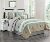 7 Piece Lupita Embossed and Pleated Comforter Set Bed-In-A-Bag (Queen, Mint)