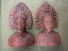 #CC7.    WOODEN CARVED  MALE AND FEMALE BUSTS