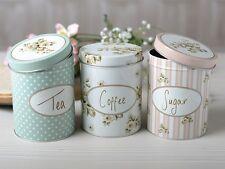Set of 3 KATIE ALICE Cottage Flower SHABBY CHIC Storage Tins TEA Coffee SUGAR