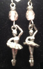 Ballerina Charm with Pink Bead Pewter Earrings from Ann Peden Collection