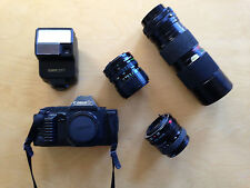 Canon T70 35mm SLR camera w/flash, assortm. of lenses