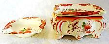 Cigarette Box 2 Matching Ashtrays 1 Doubles as Lid Porcelain Floral Decor Vtg