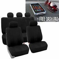 Full Set Car Seat Covers for Auto SUV Van Black w/Dash Pad