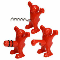 Set of 3 Funny Happy Red Man Wine Stopper Novelty Beer Corkscrew & Bottle Opener