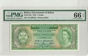 1976 Belize, Government of Belize  QEII One Dollar PMG66 Gem-Uncirculated EPQ