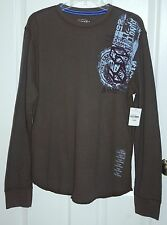 Men's NWT JC Penney Arizona Brown & Light Blue Geometric L/S Thermal Shirt Sz L