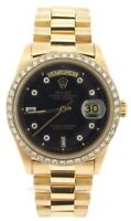 Rolex Day-Date President Mens 18k Yellow Gold Watch Black Diamond Dial 1ct Bezel