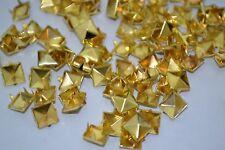 100PCS 9mm Square Pyramid Punk Spike Studs Spots Fashion Rivet DIY Bags golden